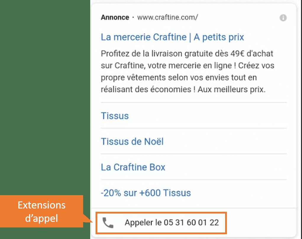 extensions appel google ads